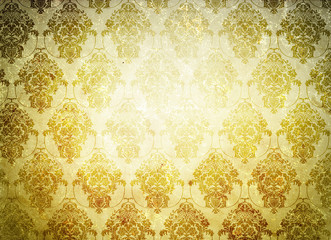 Grunge background with floral ornament.