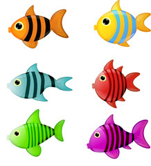 Fische Fische bunt Cartoon Comic Kinder Illustration
