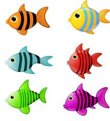 Fische Fische bunt Cartoon Comic Kinder Illustration