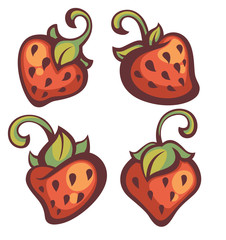 fresh mellow strawberry, vector illustration