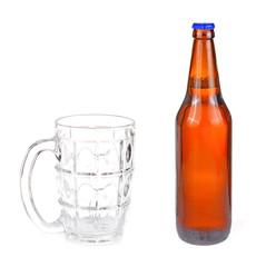Glass beer bottle white background