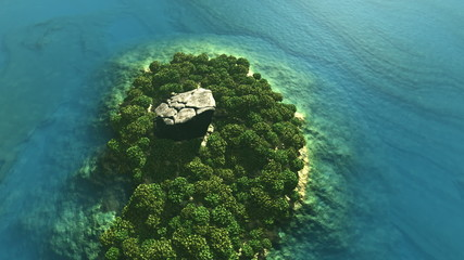 Aerial shot of tropical island with rain forest and rock