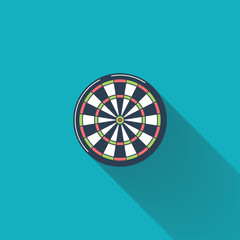 Dartboard flat icon with long shadow vector illustration.
