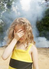 little girl sad smoke