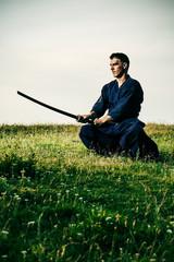 Kendo fighter holding bokuto