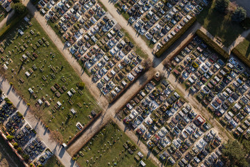 aerial view over graveyard