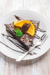 Dark Espresso Cake with Chocolate Glaze and orange