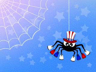 spider with American shoes