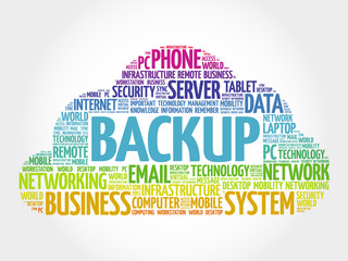 BACKUP word cloud, business concept
