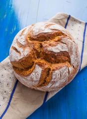 Rustic Sourdough Bread on a Linen Cloth