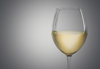 Wineglass. White wine isolated
