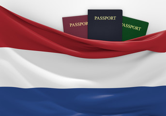 Travel and tourism in Netherlands, with assorted passports