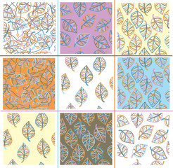 Vector set  seamless leaves patterns.