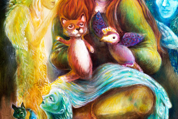 woman story teller with puppets and protective spirits, fantasy