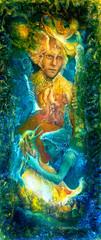 Golden sun god and blue water goddes, fantasy imagination color