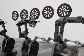 Wedstrijd darts tussen robots