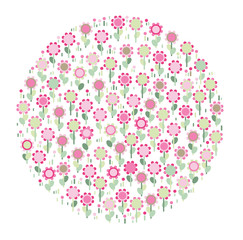 Vector cute floral circle shape isolated.