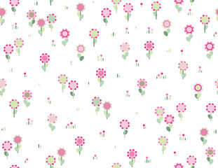 Vector seamless cute  floral pattern.