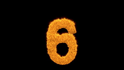 Decorative flaming number six - 6