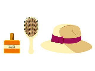 Isolated accessories for beach hair. Vector design.