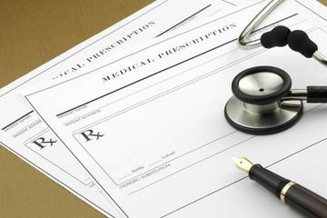 Medicare prescription and Stethoscope