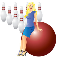 girl and bowling