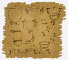 Parchment with some designs of scrolls
