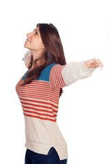 Young casual woman extended her arms