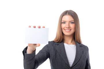Businesswoman holding a blank sheet of paper