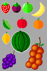 Set of Simple Flat Icon, Fruits