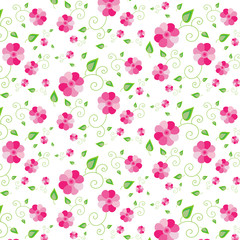 Floral background of pink flowers and green leaves.