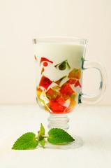 Jelly dessert in a glass