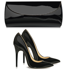 Pair of black female high-heeled shoes and  mini bag