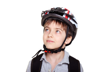 closeup portrait of a cyclist looking to the copy space area