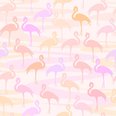 Vector illustration background with flamingo