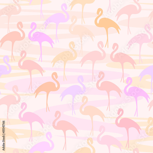 Vector illustration background with flamingo © nataliya7