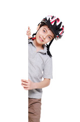 cycling boy holding the vertical blank board on white background