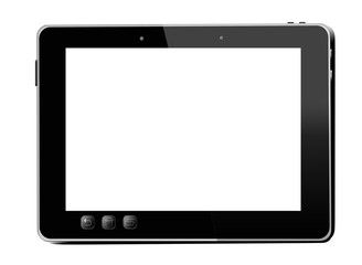 black tablet isolated on white background