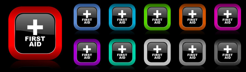 first aid vector icon set