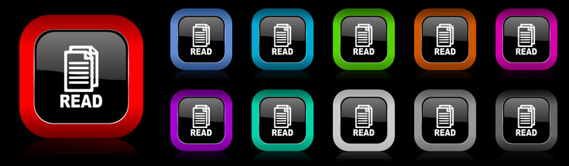 read vector icons set