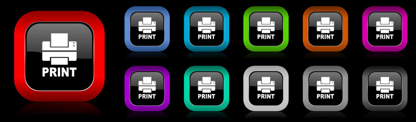 printer vector icons set