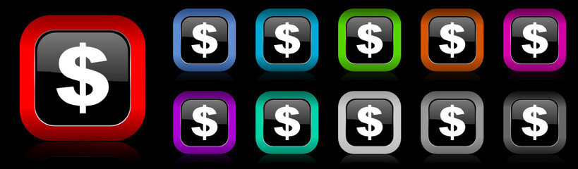 dollar vector icons set