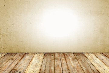 Copyspace Background With An Empty Grunge Wall With Wooden Floor