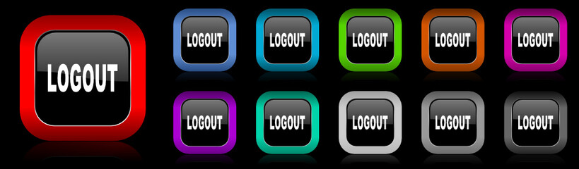 logout vector icon set