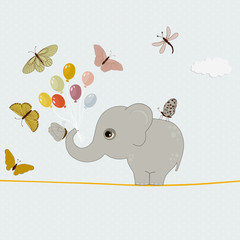 Cute elephant with balloons and butterflies
