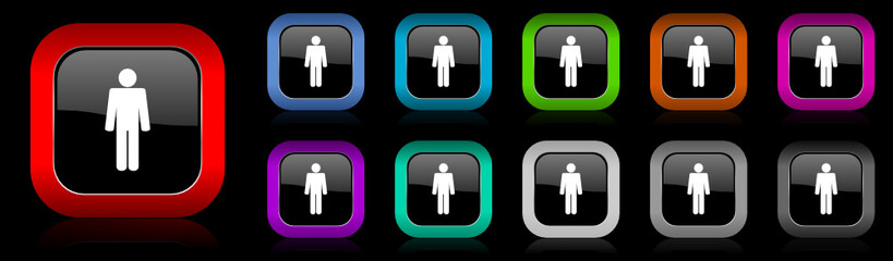 male gender vector icon set