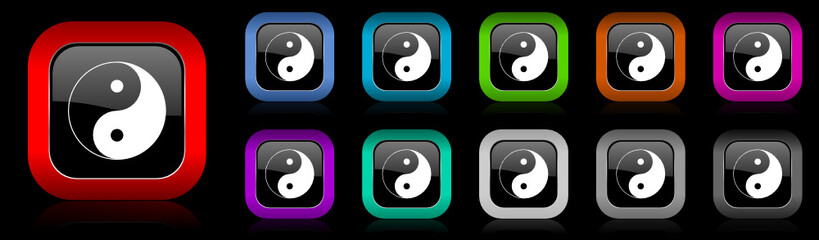 ying yang vector icon set