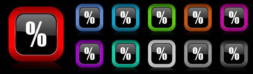percent vector icon set