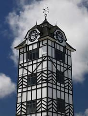 Historic tower of Stratford near volcano Taranaki, New Zealand