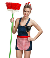 Cleaning woman standing unpleasant with broom